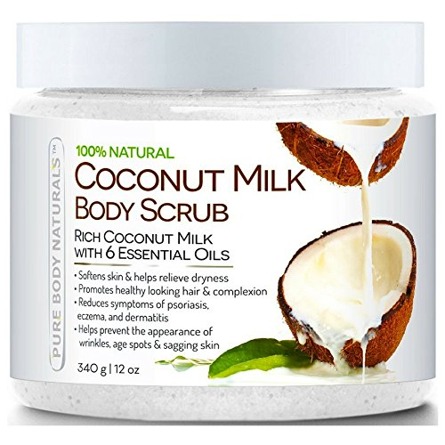 Exfoliating Body Scrub with Hydrating Coconut Milk and Dead Sea Salt for Face, Body and Feet, 100% Pure and Natural Sea Salt Scrub by Pure Body Naturals, 12 Ounce - Hydrating Coconut Milk