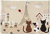 ChezMax Flannel Flock Thin Non-slip Doormat Inside Front Door Mat Paris Cat Red Carpet Floor Rug 16'' X 24''