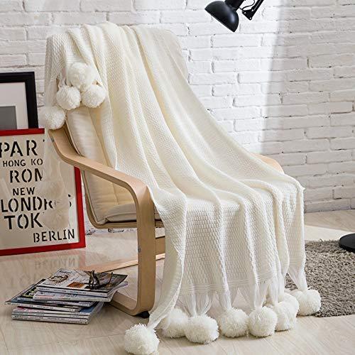 Yunyilian テキスタイル編み糸ソファカバー毛布写真撮影の小道具装飾されたベッドエンドタオルボールと地面の布 B07RJF8WC7