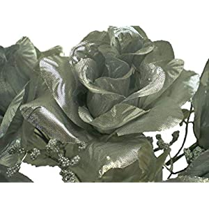 "4 Bushes SILVER Open Rose 7 Artificial Silk Flowers 15"" Bouquet 039SL 44"