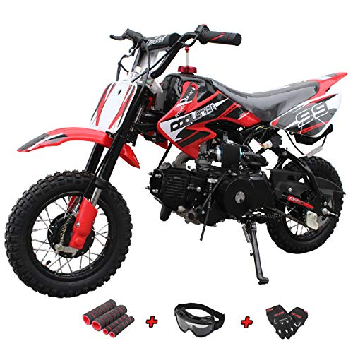 X-Pro 110cc Dirt Bike Pit Bike Mini Gas Dirt Bike Kids Youth Dirt Bike Pit Bike 110cc Gas Dirt Pitbike with Gloves, Goggle and Handgrip (Green)