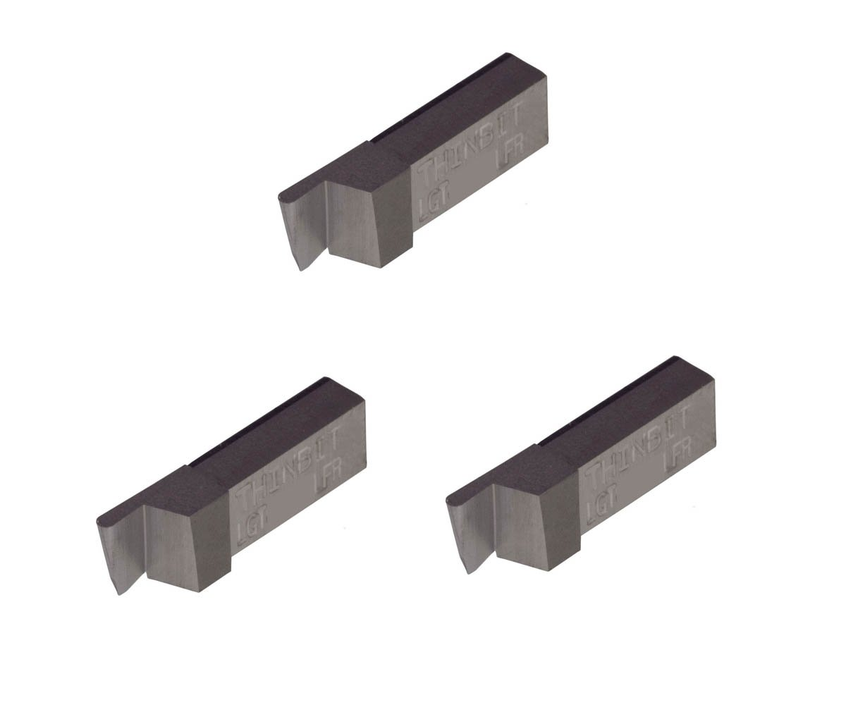 Uncoated Carbide Grooving Insert for Non-Ferrous Alloys Aluminium and Plastic Without Interrupted Cuts THINBIT 3 Pack LGT067D5LFR 0.067 Width 0.168 Depth Full Radius