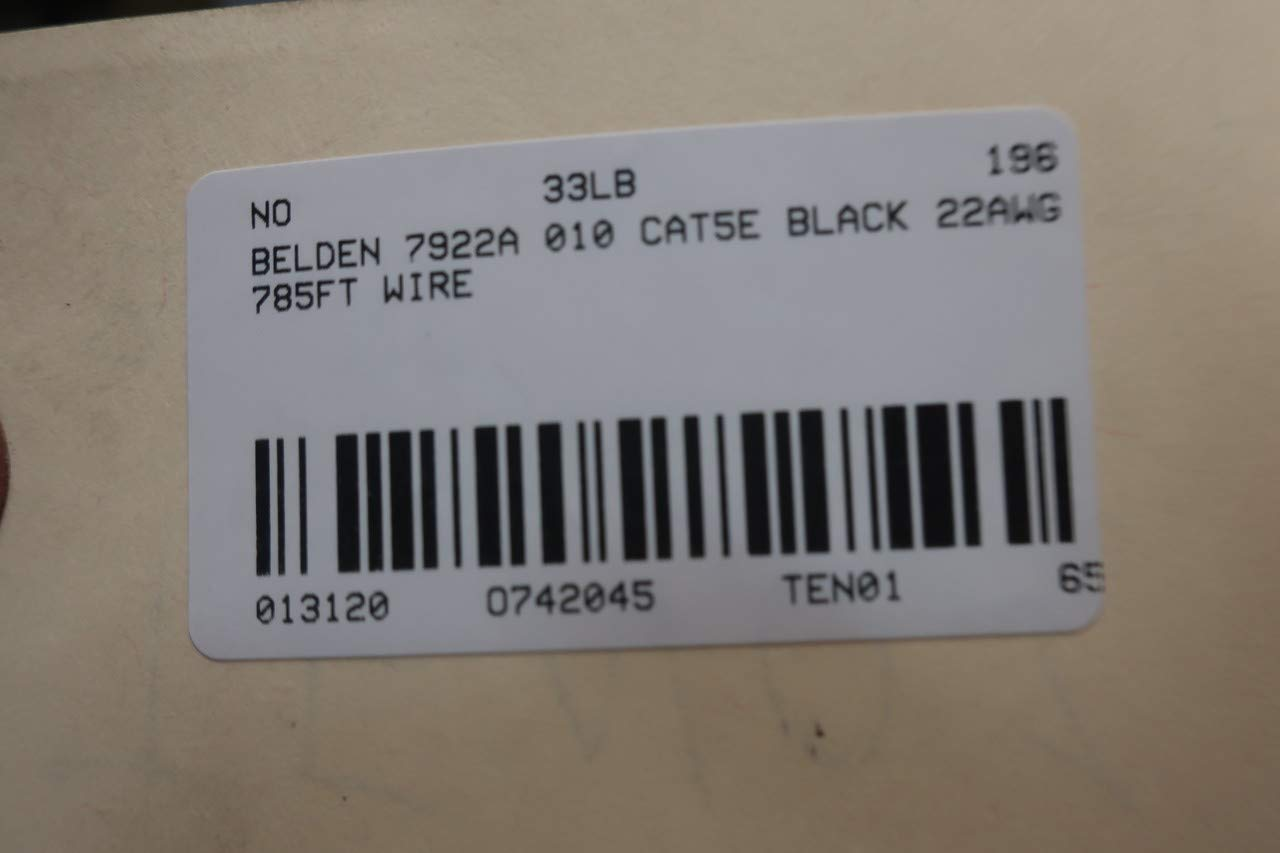 BELDEN 7922A 010 CAT5E Black Wire 22AWG 750FT