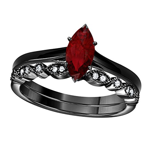 Gems and Jewels 1.00 Ct Marquise Shape & Round Cut Red Ruby & White CZ Diamond 14k Black Gold Plated Art Deco Vintage Design Wedding Bridal Set Engagement Ring