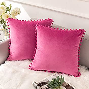 Ashler Decorative Velvet Throw Pillow Covers with Soft Particles Outdoor Pillowcases for Couch, Sofa and Bed 18 x 18 inches 45 x 45 cm, Pack of 2, Pink