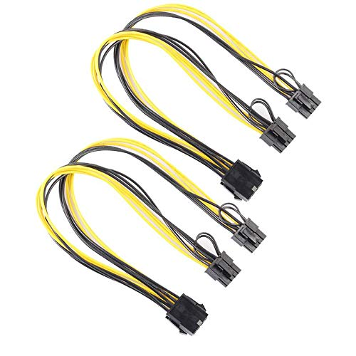 Small-Chipinc - 2pcs GPU PCIe 8Pin to Graphics Video Card Double PCI-E PCIe 8Pin(6Pin+2Pin) Power Supply 18AWG Wire Splitter Cable for mining