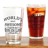 CafePress Drinking Glass - World's Most Awesome Son-in-Law Drinking Glass - White