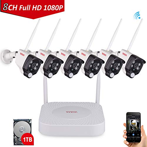 [Expandable System] Tonton 8CH 1080P NVR Wireless Camera System with 1TB HDD, 6PCS 1080P 2.0 MP Waterproof Outdoor Indoor Bullet Cameras with PIR Sensor, Audio Record, Auto-Pair,Plug&Play