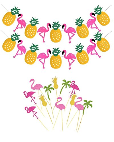 14pcs-Tropical-Rain-Forest-Theme-Party-Decorations-Supplies-Flamingo-Pineapple-Banner-and-Cupcake-Topper-for-Luau-Hawaiian-Summer-Party-Baby-Shower-Birthday-Party-Decor