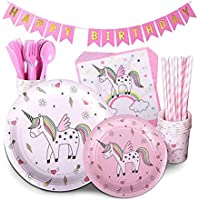 Unicorn Party Supplies PINK 72 Piece Pack Children's Rainbow Birthday Party Supply Set Bonus Happy Birthday Banner and Paper Party Supplies for Birthday Decoration