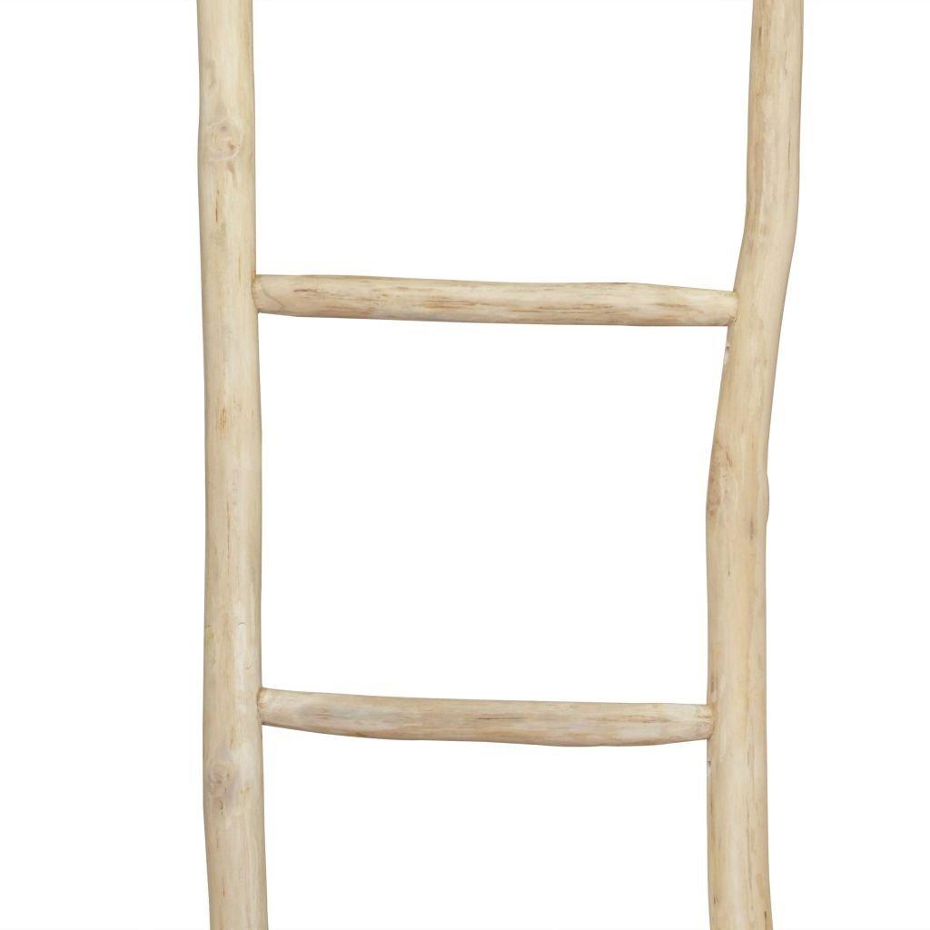 Festnight Escalera toallero,de pie de teca,5 pelda/ños,45x150 cm,natural