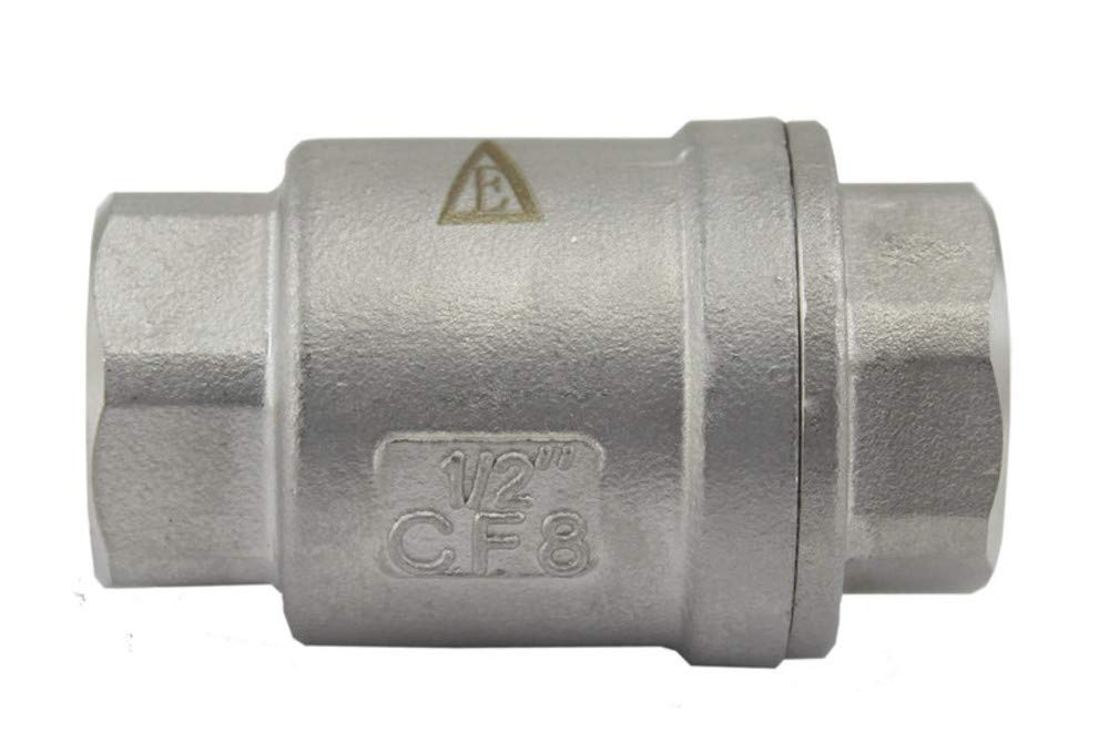 "Duda Energy VCV-WOG1000-F050 Vertical Check Valve, 304 Stainless Steel, 1/2"" NPT Spring Loaded in-line Low Cracking Pressure, 0.5"""