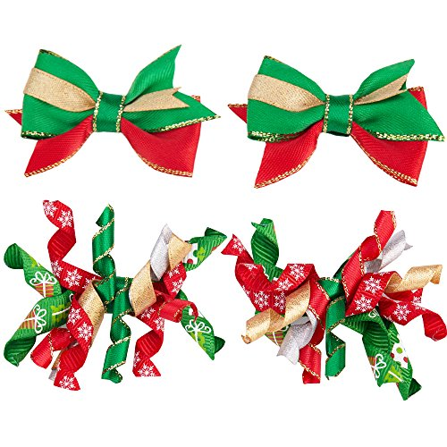 Blueberry Pet Pack of 4 Holiday Festival Fever Handmade Dog Hair Clips, Pet Grooming Long Hair Accessories, for Dogs & ()