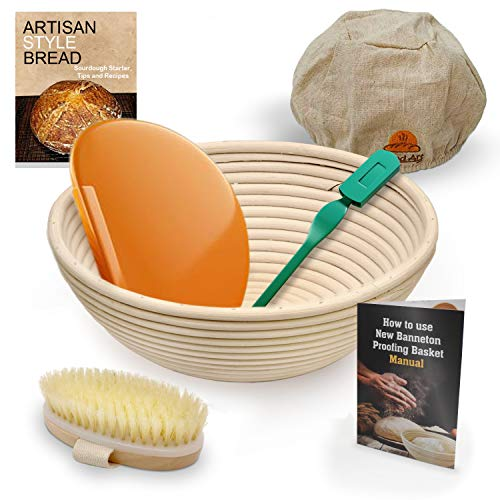 9 Inch Bread Banneton Sourdough Proofing Basket Set with Bread Lame, Dough Scraper, Cloth Liner, Cleaning Brush, Brotform Manual, EBook ()