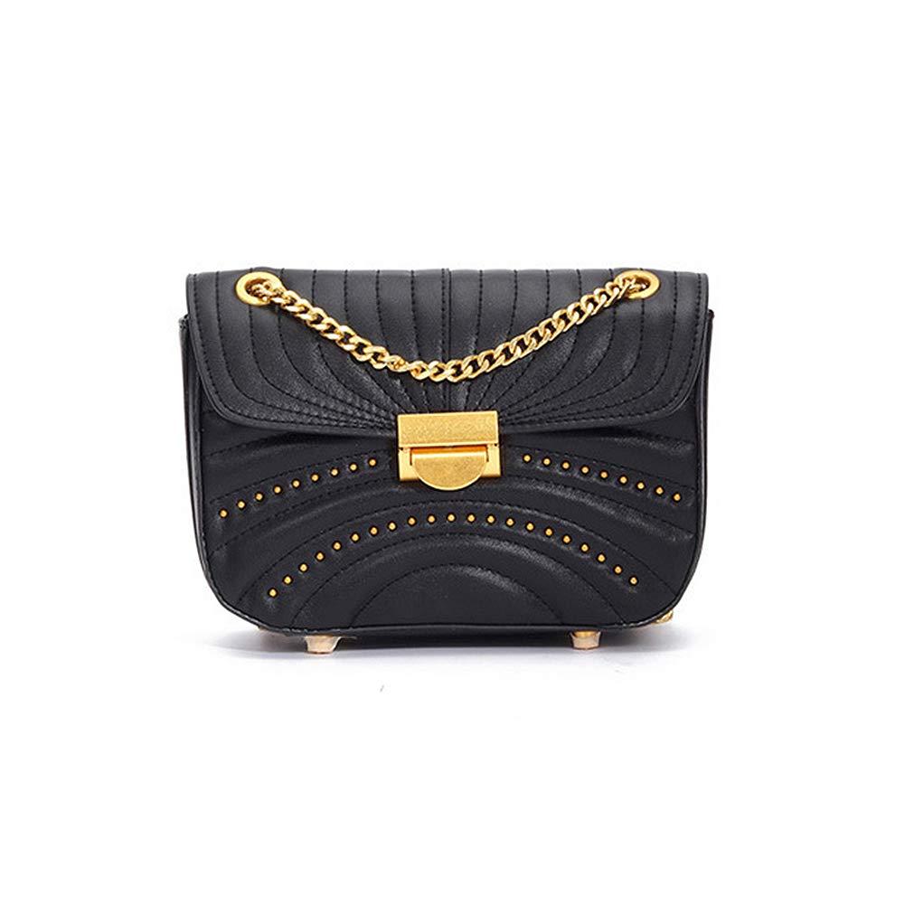 Black Onzama Women Stylish Designer Rivets Shoulder Purse Genuine Leather Quilted Chain Bag