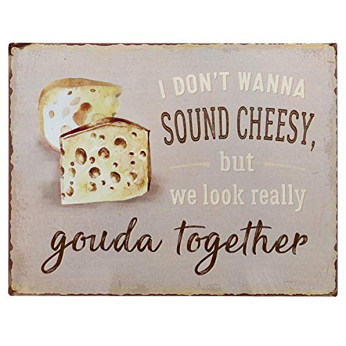 Vintage Cheese - Barnyard Designs I Don't Want to Sound Cheesy But We Look Really Gouda Together Funny Retro Vintage Tin Bar Sign Country Home Decor 13