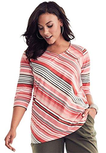 Roamans Women's Plus Size Diagonal Stripe Tee - Coral Multi Stripe, S - Ladies Diagonal Stripes
