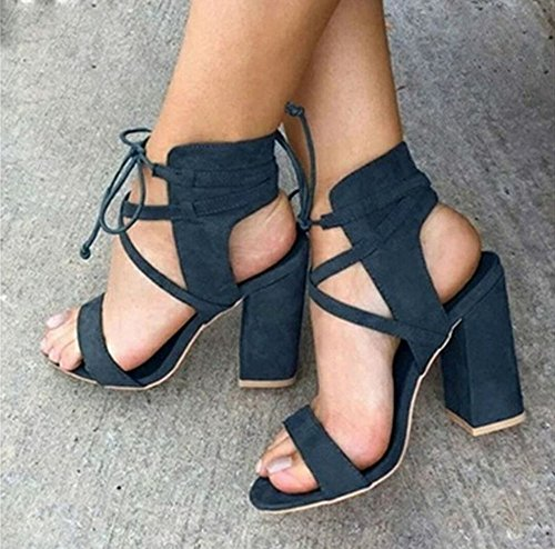 Summer Women's Sandals Super High Heel Hollow Round Head with Sandals Ankle Buckle Buckle Women's Shoes Round Toe Gladiator Sandals Blue De25Wv7