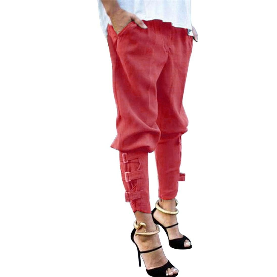 Womens Casual Harem Baggy Hip Hop Dance Jogging Sweat Pants Slacks Trousers (XL, Red)