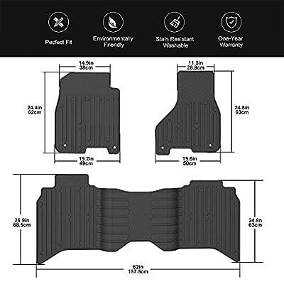 WINUNITE Front & Rear Black Slush Floor Mats for 2013-2020 Dodge Ram 1500 Crew Cab All Weather Guard TPE Floor Carpet Liner Set for Dodge Ram 1500 2500 3500 4500 5500 Crew Cabs Floor Liner Set: Automotive