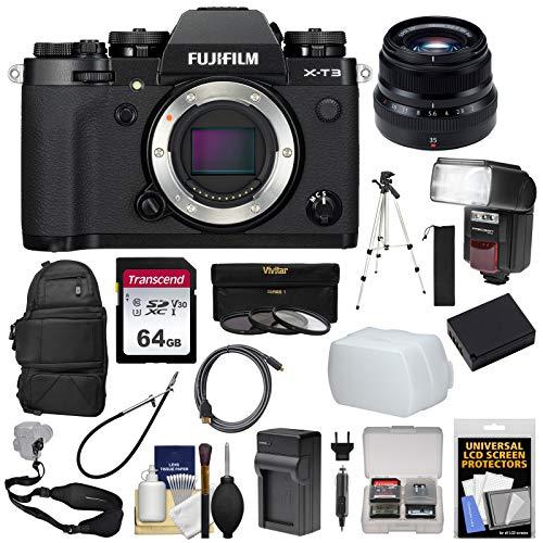 Fujifilm X-T3 4K Wi-Fi Digital Camera Body (Black) with 35mm f/2.0 XF Lens + Backpack + 64GB Card + Battery & Charger + Tripod + Flash Kit