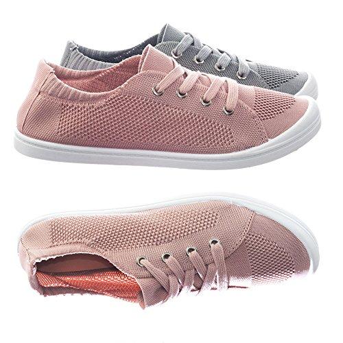 Soda Rubberen Zool Zacht Comfortabel Canvas Gehaakte Geweven Elastische Platte Sneaker Mauve Roze