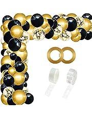 مجموعة بالونات تزيين ملونة ذهبية سوداء على شكل قوس - 110 قطعة من بالونات الحفلات المستديرة لتزيين حفلات الهالوين وأعياد الميلاد وحفلات التخرج - 2725612118544
