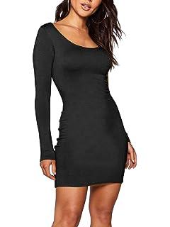 5fb00d8bb8e Hioinieiy Women s Low Cut Long Sleeve Bodycon Short Dress at Amazon ...