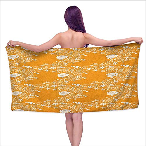 Bath Towels Egyptian Cotton Orange,Tropical Fishes Sea Stars Stylized Cute Blossoms and Leaves Jellyfish Ocean Marine, Orange White,W28 xL55 for Men red Cotton Braided Star Blossom