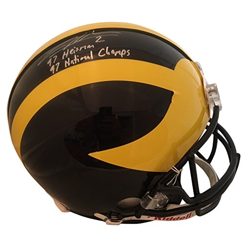 Charles Woodson Autographed Michigan Wolverines Football Signed Authentic Full Size Helmet 1997 Heisman Beckett BAS COA 1 ()