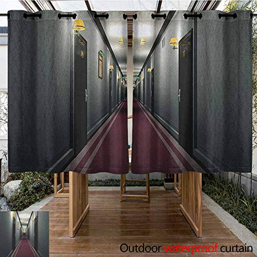 AndyTours Custom Outdoor Curtain,French,Fancy Hotel Corridor Building Inside Classic French Interior Design Picture Art,for Patio/Front Porch,K140C100 Grey Yellow