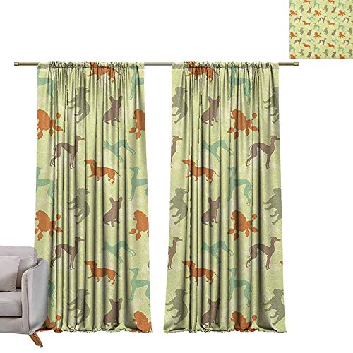 Thermal Insulated Room Darkening Window Shade Dog Lover,French Bulldog Greyhound Poodle Terrier Silhouette Pure Breed Animals Canine Type, Multicolor W96 x L84 Blackout Window Curtain Panel