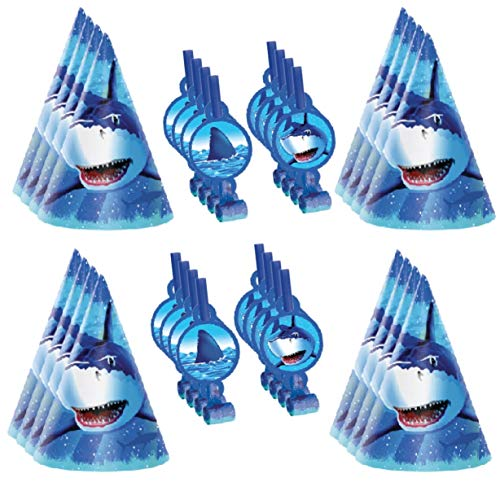 Shark Party Supplies: Set of 16 Shark Hats and 16 Noisemakers for Shark Birthday Party