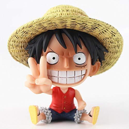 10cm (3.9 inch) - One Piece PVC Figure - Sabo Chopper Luffy Ace Sanji Zoro Q Version Sitting Figurine PVC Figure (Luffy)