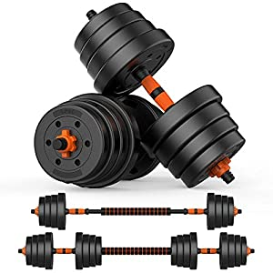 Well-Being-Matters 51I7O1zd4SL._SS300_ BOSWELL Adjustable Weights Dumbbells Set, 2 in 1 Weights Barbell Dumbbells Non-Slip Neoprene Hand with Connecting Rod…