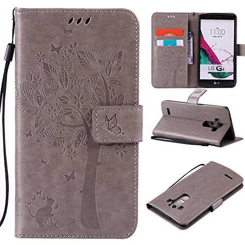 Lily Cell Phone Snap - LG G3 Case,Best Share Embossing Fashion Floral Countryside Pattern PU Leather Flip Stand Case Wallet Design Card Slot Kickstand Feature With Hand Strap Cover For LG G3 VS985 D850 D851 4G LT,Gray