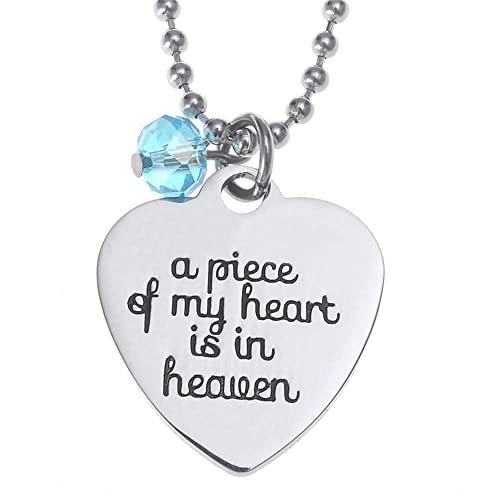 073f213e53dc0 Azfly A Piece of My Heart is in Heaven Engraved Letters Heart Shape  Titanium Stainless Steel Pendant Necklace with Bead and 20 Inch Chain