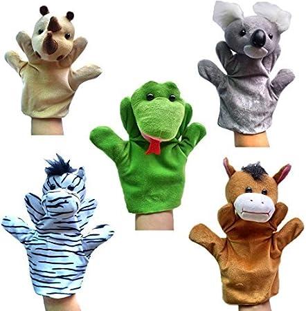 Happy Cherry - (Set de 5 Marionetas Juguetes Juegos de Manos Juguetes de Peluche Animales para Niños niñas Bebes Cuentacuentos - Rinoceronte / Koala / Cebra / Caballo / Serpiente