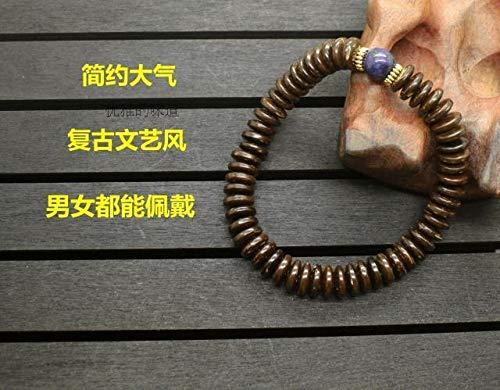 Stretch Bracelet Coconut Shell (Gabcus 8x2MM Ethnic Style Natural Coconut Shell with Stone Beads Bracelet Women Men Healthy Jewelry Tibetan Stretch Bracelet J1301 - (Metal Color: 2))