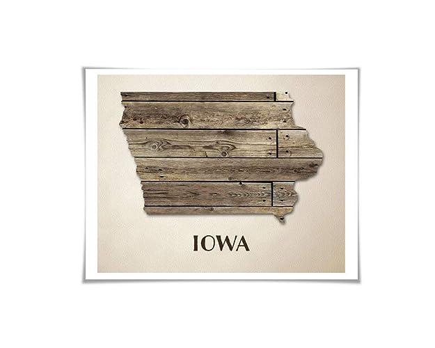 Amazon Com Iowa Map Art Print 5 Sizes Travel Poster Custom State