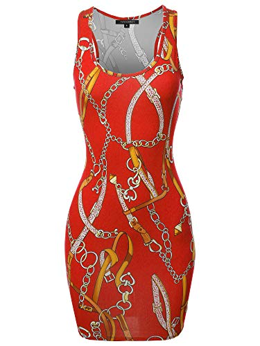 Floral or Camouflage Printed Sexy Body-Con Racer-Back Mini Dress Chain Red S