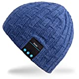 Mydeal Washable Winter Unisex Hat Bluetooth Beanie Short Skully Cap with Bluetooth Stereo Headphones Mic Hands Free Rechargeable Battery for Mobile Phones,iPhone, iPad, Android,Laptops,Tablets - Blue