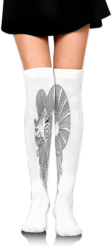 Rams Head in Henna Mehndi Tattoo Style Doodle with Ethnic Curly Artwork,60CM Over Knee High Socks