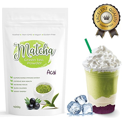 Japanese Acai Berry Matcha Tea Powder (100g) - Rich in Antioxidants, Supports Weight Loss and Boosts Energy - Great for Green Tea, Frappes or Lattes - Infused with Natural Flavor, No Sugar Added