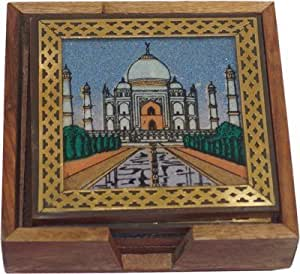 Zap Impex® Rajasthani Sheesham Wood Tea Coaster with Gem Stone Painting with 6 Coaster - Metal work Tea Coaster Set of 6 Plate - Hand Carved Wooden Tea Coaster Holder Square (Tajmahal)