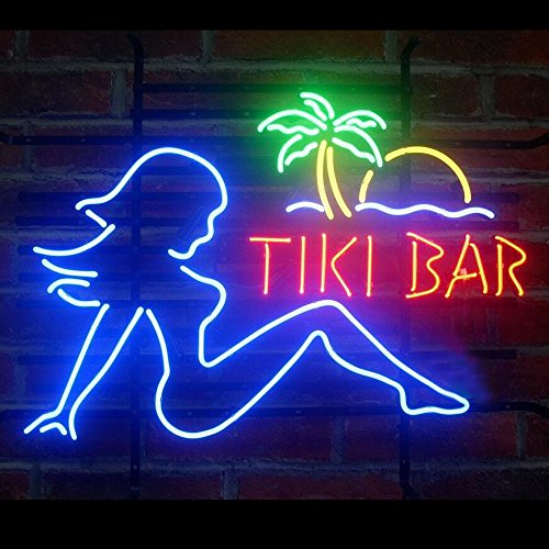 Tiki Bar Girl Real Glass Handcraft Beer Bar Pub Store Party Room Wall Window Display Neon Signs 19×15