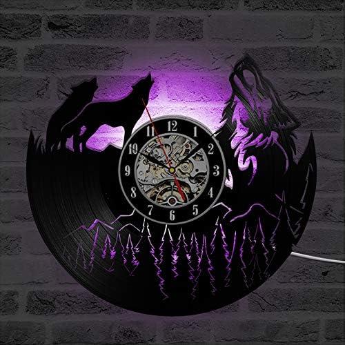 JXWH Reloj de Pared con Registro de Vinilo Modelo Wolf El Reloj de Vinilo de diseño Moderno Tiene una decoración 3D Exclusiva para el hogar con Reloj LED con 7 variaciones de Color