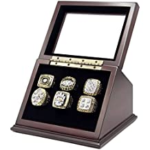 Championship Rings Display Case Box with 6 Holes and Slanted Glass Window for any Championship Rings -Rings Are Not Included