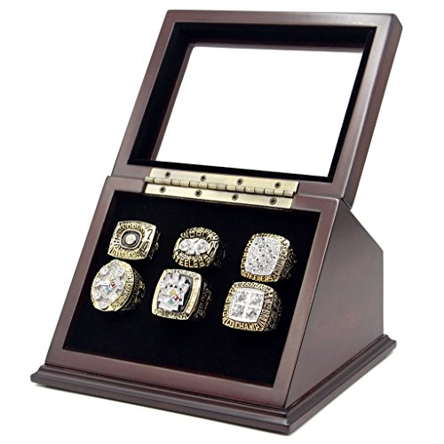 Championship Rings Display Case Box with 6 Holes and Slanted Glass Window for any Championship Rings -Rings Are Not Included ()