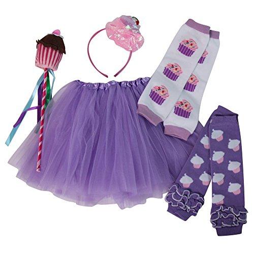 Girls Cupcake Fairy Princess Tutu, Leg Warmers & Wand Dress Up Set (Lavender) (Cupcake Fairy Halloween Costume)